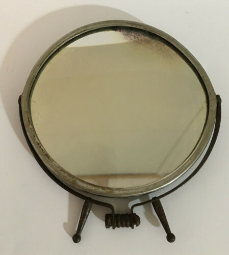 Mid Century Barber Mirror  Double Sided Glass / Folding Stand Shaving Vanity