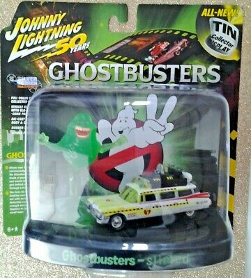 JOHNNY LIGHTNING - GHOSTBUSTER'S - ECTO 1A SLIMED PLUS SLIMER FIGURE -*NEW