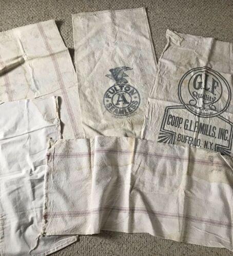 5 Vintage Antique Feed Sacks
