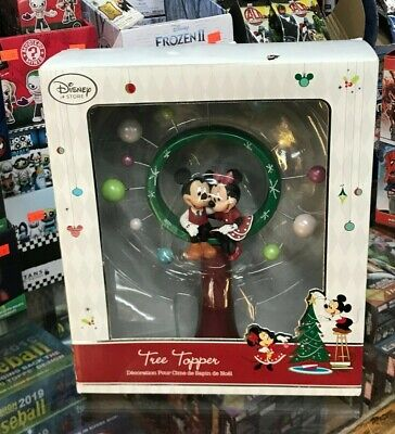 """Disney Store Minnie And Mickey Mouse Christmas Tree Topper 2014 NWOB 11"""" Tall"""