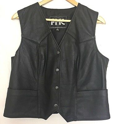 FMC Womens Black Leather Vest XL Motorcycle Heavy Cow Hide Biker Steampunk (Steampunk Vest Womens)