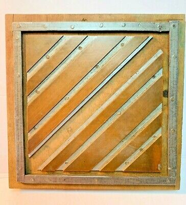Antique Copper Letterpress Wood Print Block Triangle Pyramid Of Lines Decoration