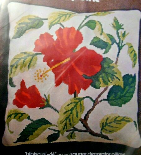 """Bucilla Needlepoint Pillow Kit RED HIBISCUS Flower 14"""" Sq Sealed #4879"""