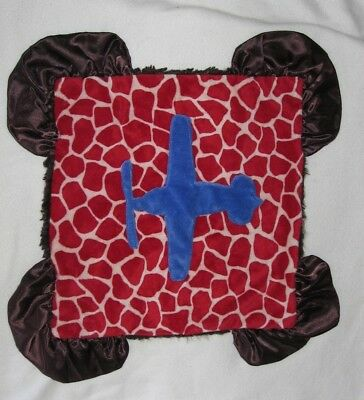 Kiki Minky Security Blanket Baby Lovey Red Brown Blue Airplane segunda mano  Embacar hacia Mexico