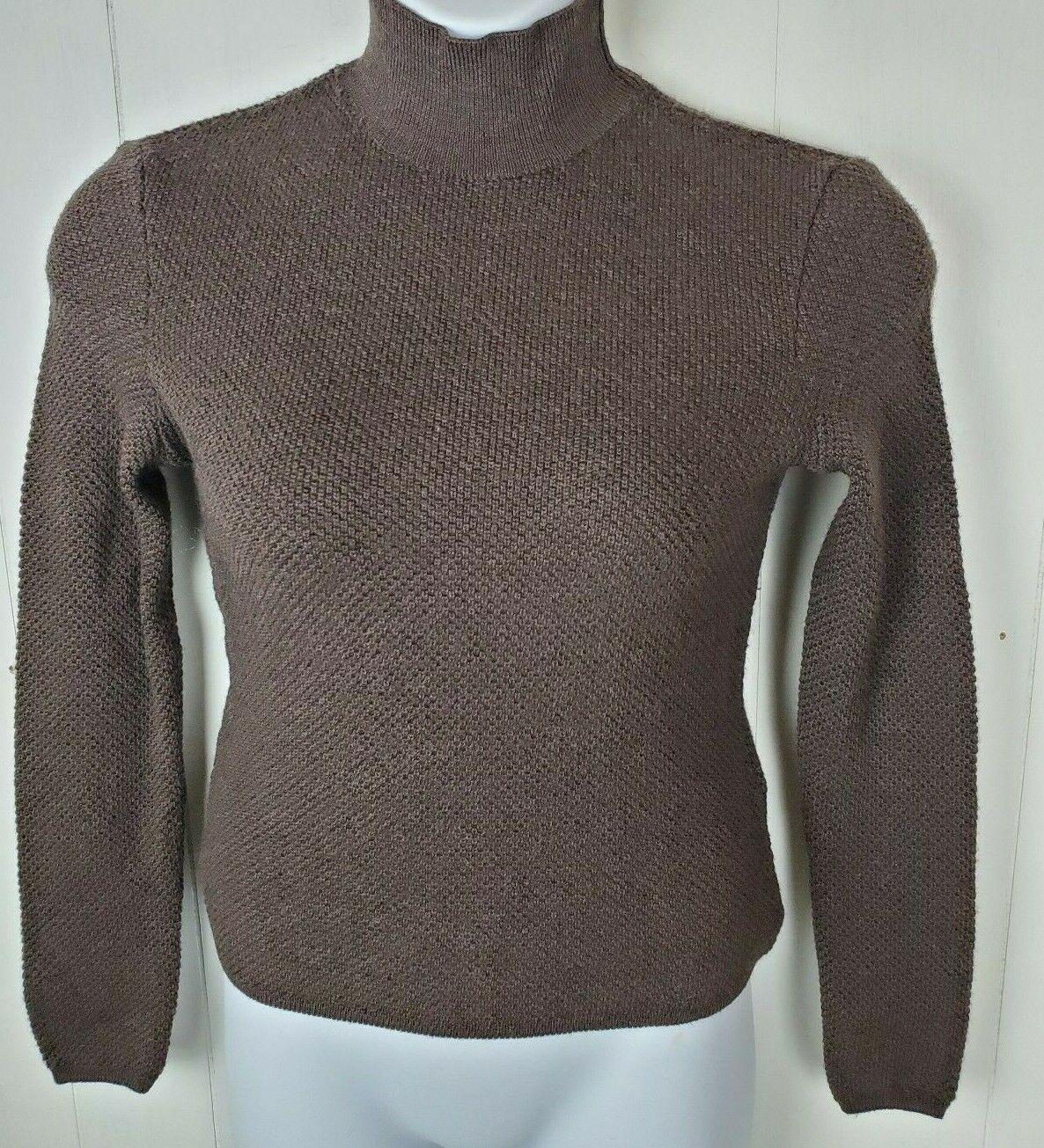 Valentino Sweater Size M Miss V Brown Wool Turtlen