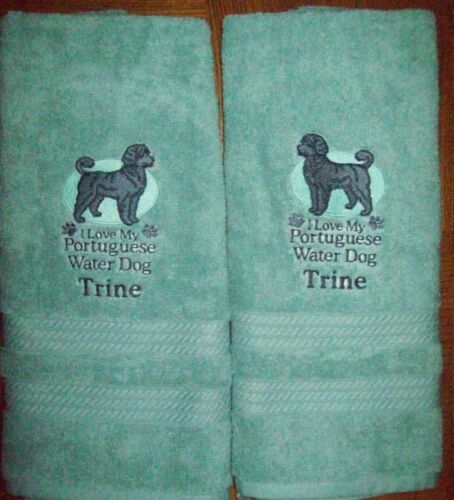 Portuguese Water Dog Cute Bathroom SET OF 2 HAND TOWELS EMBROIDERED