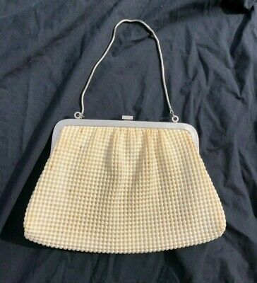 1950s Handbags, Purses, and Evening Bag Styles Lanza 1950-1970 cream pearl inspired purse with clasp $37.45 AT vintagedancer.com