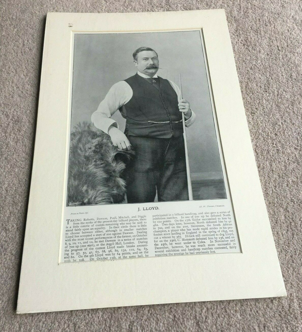 J Lloyd Billiards player Antique Magazine page mounted and ready to frame