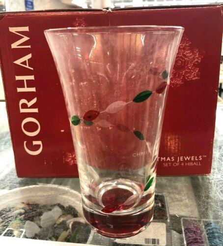 Gorham Christmas Jewel Set of 8 16 oz. Hiball Glasses