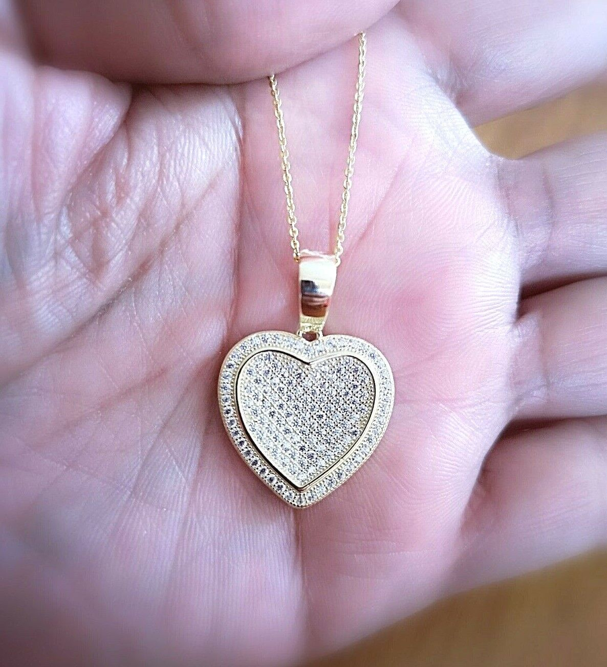1 Ct Diamond Pendant Womens Necklace Heart Shape in 14K Yellow Gold over Chain 1