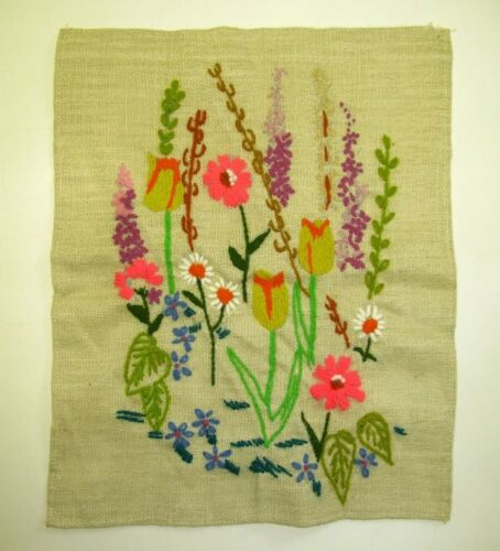 Vintage Completed Finished Crewel Embroidery Flowers Garden Linen