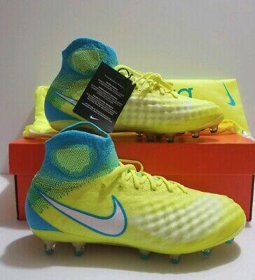 69aaa953473a Nike Magista Obra II FG Flyknit Volt White Women Soccer Cleats Sz 8 (844205- 717)