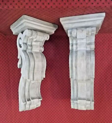 PAIR of Large Victorian Wood Corbels - Weathered White (#7306)(049 050)
