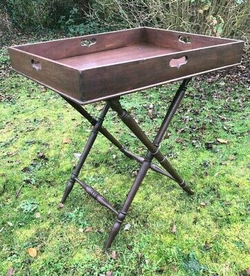 Antique Drinks, Butlers Tray, Folding Legs, Occasional, Very Large, Mahogany,