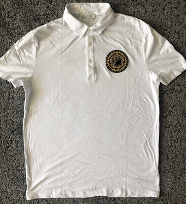 VERSACE Collection Men's White Polo Shirt Size Large Medusa Head