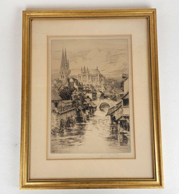 Orig. Antique signed Charles Pinet - Chartres Vue Sur Eure - Engraving w/ Frame