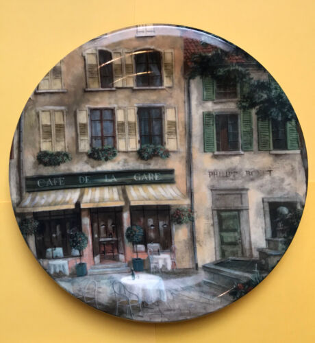 222 FIFTH French Cafes Scenes Vintage St Of 4 Porcelain ,8.5 Plates, Indonesia - $30.00