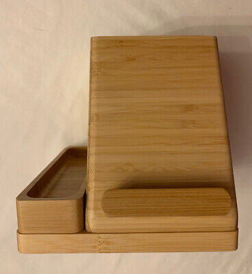 Charging Desk Organizer Storage Small Bamboo Wood Charger