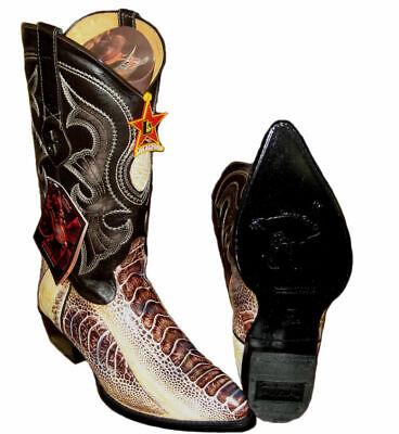 Genuine Ostrich Leg Western Cowboy Natural Color Boot By Los Altos EE 990549 - Genuine Ostrich Leg