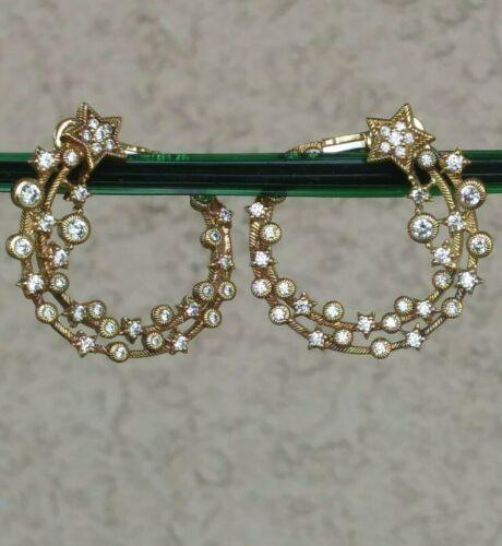 """Judith Ripka """"Shooting Star"""" Hoop Earrings 14k Clad Sterling Silver"""