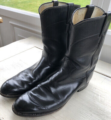 Justin Style 3702 Black Leather Mens Cowboy Boot Size 10