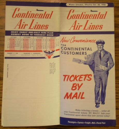 Continental Airlines System Timetables 1956 Through 1967 7 Item Lot
