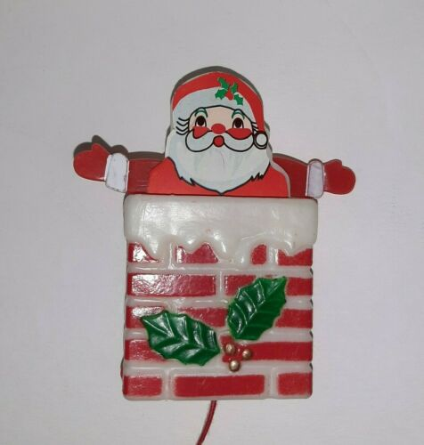 Vintage Christmas Pull String Pop-Up Santa Clause in Chimney Plastic Pin