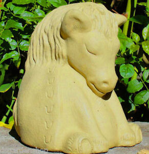 MEDIUM-MEDITATING-HORSE-Solid-Stone-Zen-Buddha-Sculpture-Yoga-Garden-Statue-O