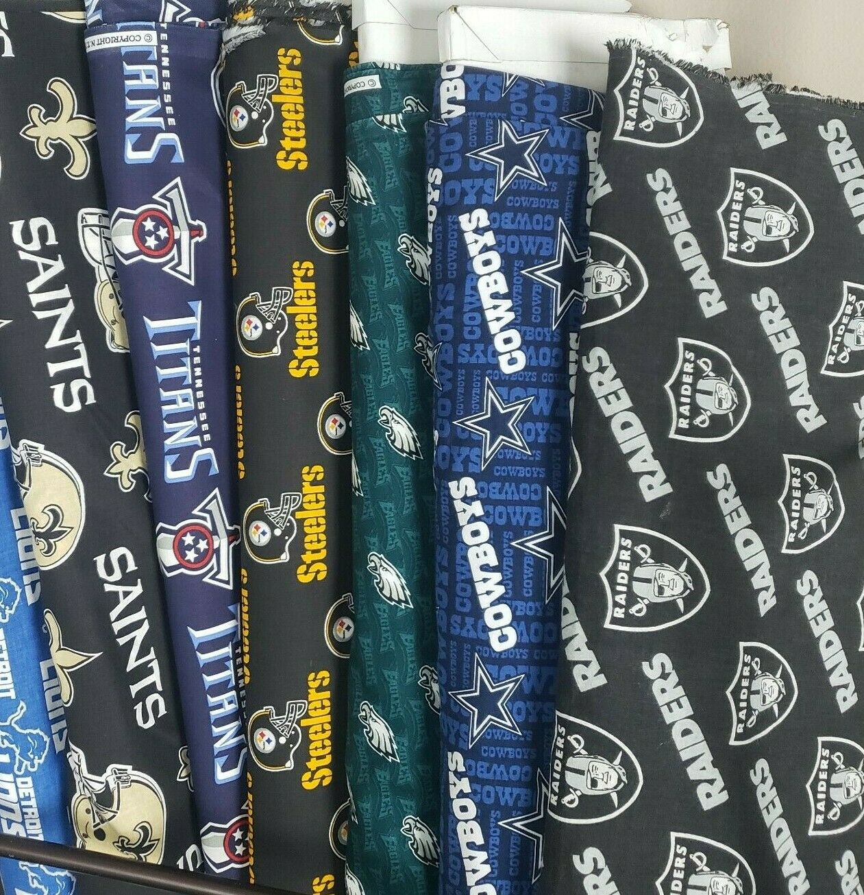 """NFL Football Cotton Fabric By The FQ(1/4) -PICK TEAM- 18""""x(18-21"""") for Face Mask"""