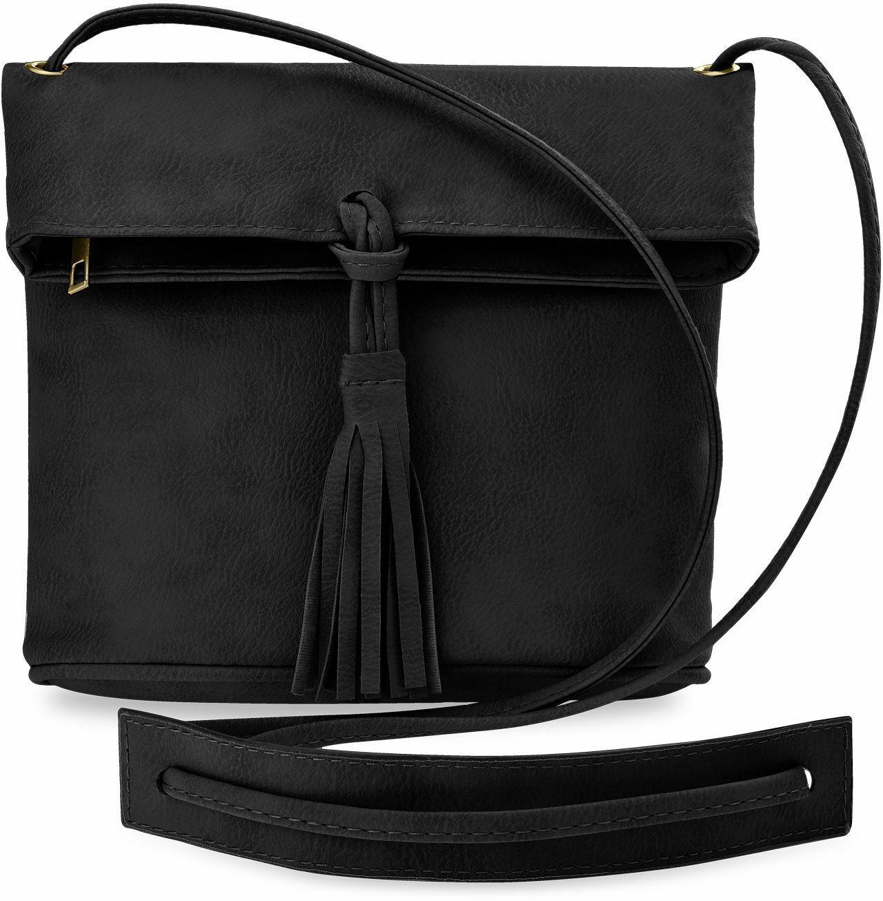 kleine Damentasche Schultertasche Clutch Handtasche mit Fransen schwarz