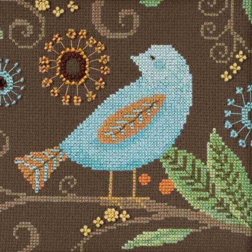 Aqua Bird Beaded Cross Stitch Kit Mill Hill 2018 Debbie Mumm
