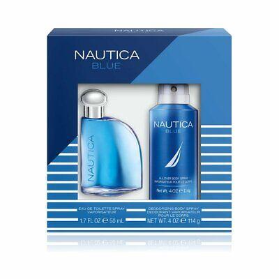 Nautica Blue Eau De Toilette Body Spray & Deodorizing Gift Set 2 Pieces.