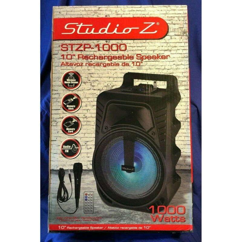 Studio Z STZP-1000 10-Inch Rechargeable Speaker Woofer with USB Music Stream