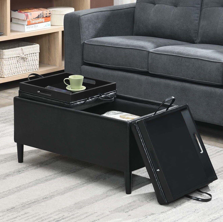 Rectangular Storage Ottoman W 2 Trays Coffee Table Bench Seat Upholstered Black Ebay