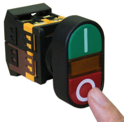 ON/OFF START/STOP Push Button w Light Indicator Momentary Switch Red Green Oval