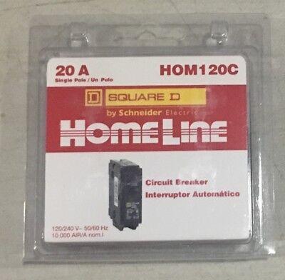 New Homeline Square D 20 A Single Pole Circuit Breaker Hom120c