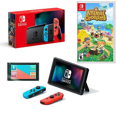 🚜 NEW Nintendo Switch Console and Neon JoyCon w/Animal Crossing New Horizon 🌳