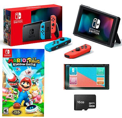 🎁NEW Nintendo Switch Bundle Mario Rabbids Kingdom Battle Joy Cons + 16GB + MORE