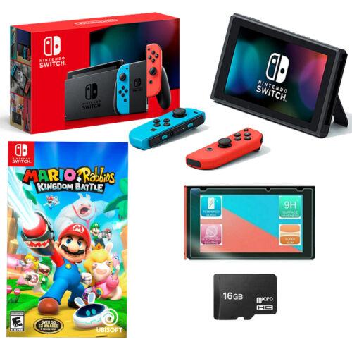 NEW Nintendo Switch Bundle Mario Rabbids Kingdom Battle Joy Cons + 16GB + MORE