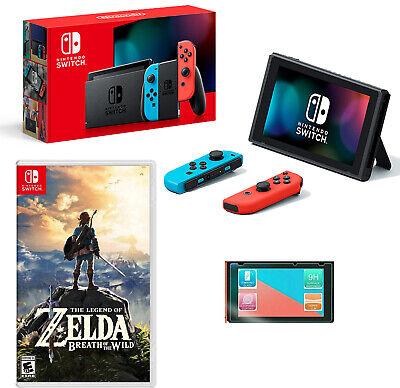 🏹NEW Nintendo Switch Neon Bundle Zelda: Breath of the Wild + Screen Protector🏹
