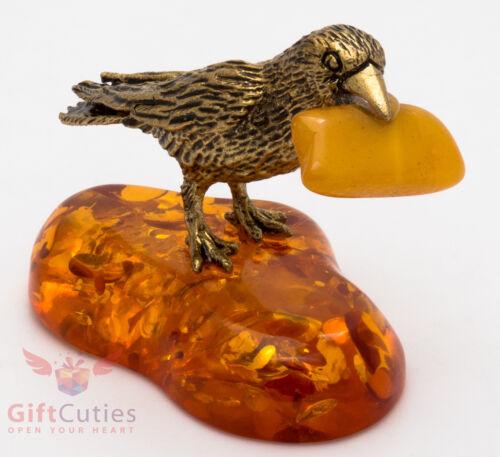 Solid Brass Amber Figurine of bird Crow Raven w piece of cheese IronWork