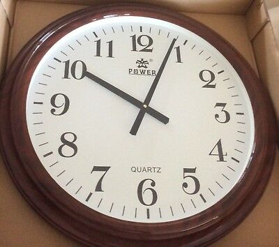 POWER Large Round Wall Clock Wood Grain Acrylic No Ticking Quiet High Quality!