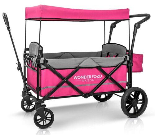 Wonderfold Wagon X2 Push Pull 2 Passenger Folding Stroller Pink NEW