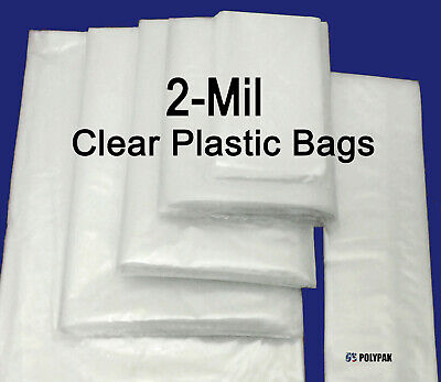 Clear Poly 2-mil Plastic Bags Flat Open Top Fda Packaging Impulse Sealer Baggies