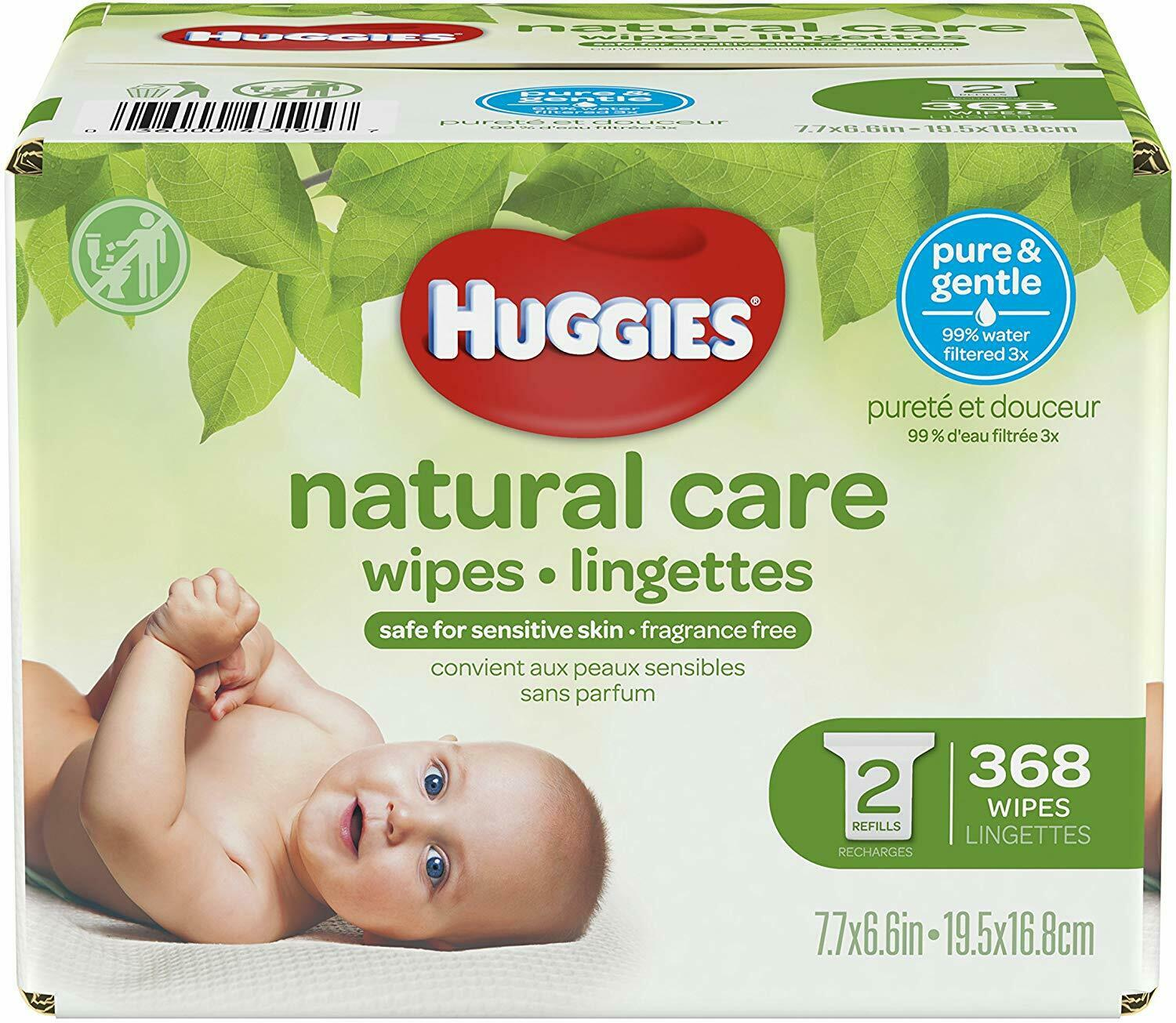 HUGGIES Natural Care Refreshing Baby Wipes, 368 Sheets