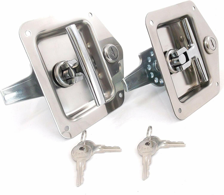 2 PCS RV/CAMPER/TRAILER DOOR T- HANDLE - STAINLESS STEEL WITH LOCK/KEY