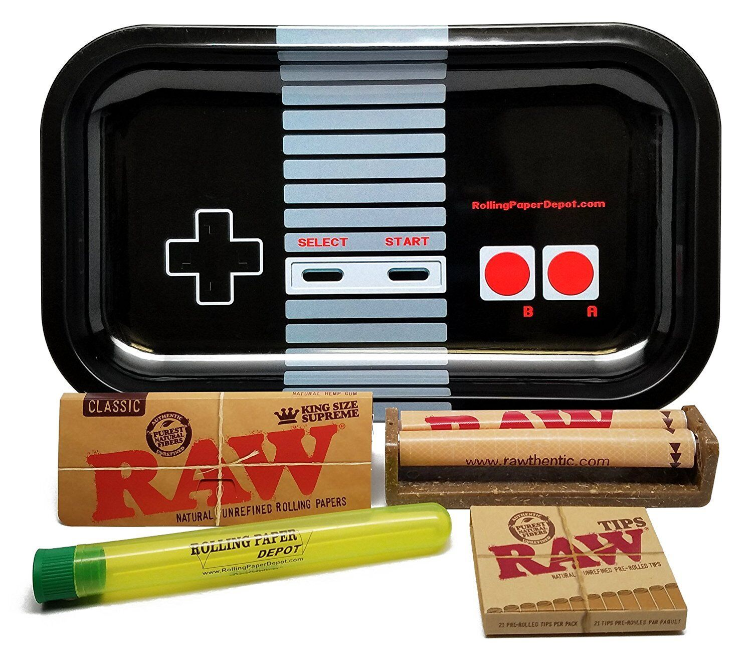 Bundle - 5 Items - RAW King Size Supreme, RPD Rolling Tray(Controller) and more