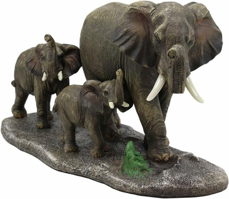 "Ebros Elephant with 2 Calves Family Statue 14.5"" Long Figurine Sculpture Decor"
