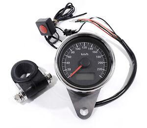 TOP**LCD Mini Tachometer elektronisch schwarz 60mm für Harley Sportster bike
