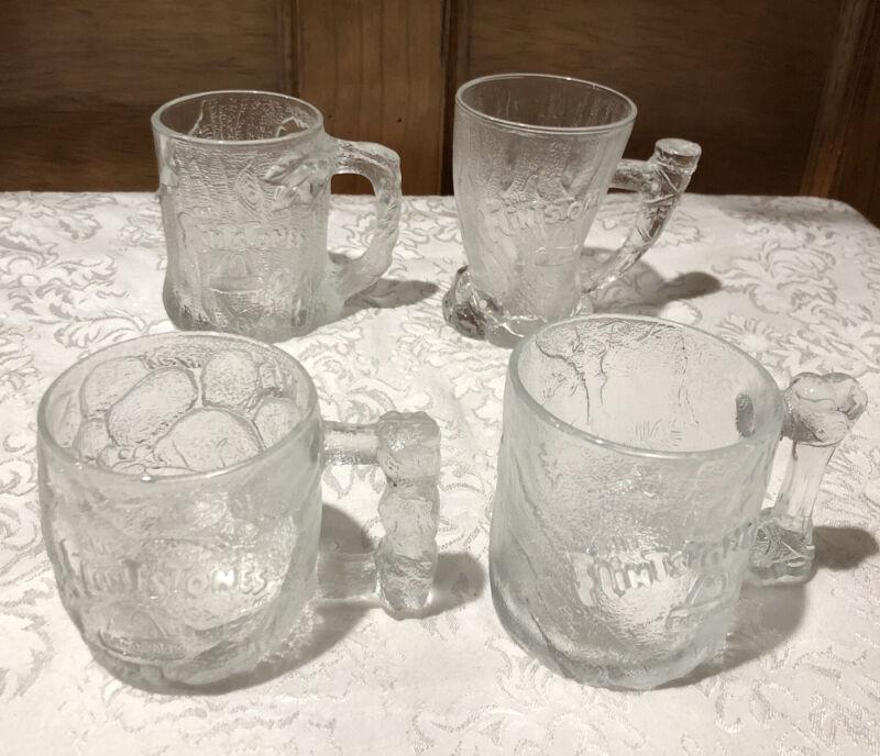 SET OF 4 McDonalds (RocDonalds) 1993 Flintstones Glasses Mugs Cups